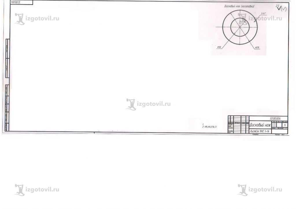 Изготовление деталей по чертежам: изнотовление ножей