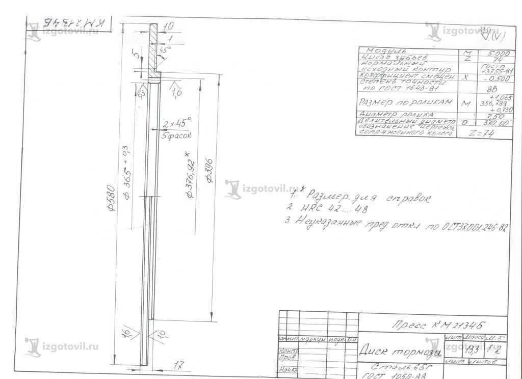 Изготовление деталей по чертежам: диск тормоза