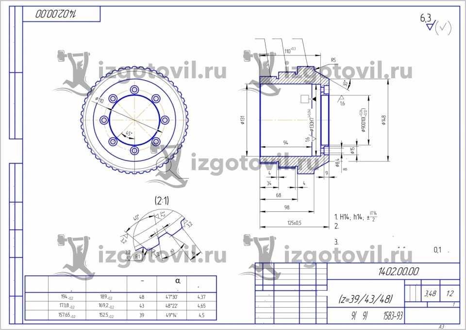 Токарно-фрезерная обработка - изготовление шкивов