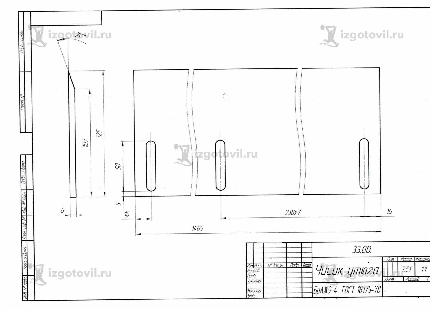 Изготовление деталей по чертежам - изготовление чистика, плиты