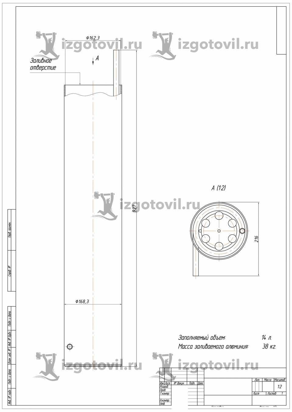 Литейное производство - изготовить алюминиевую форму