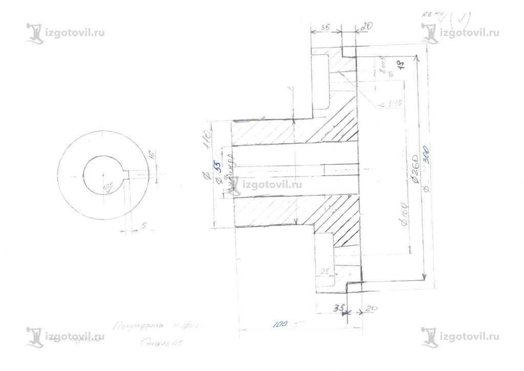 Токарная обработка деталей: изготовление шкива, муфты и пальца