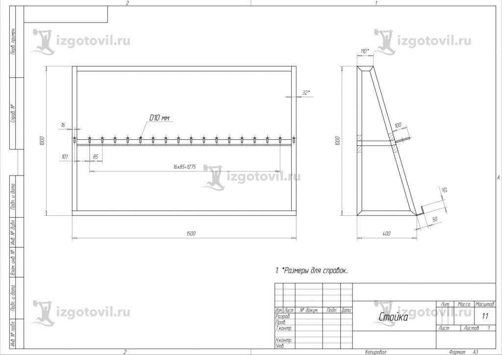 Металлоконструкции на заказ (стойка для хранения ключей/инструментов).