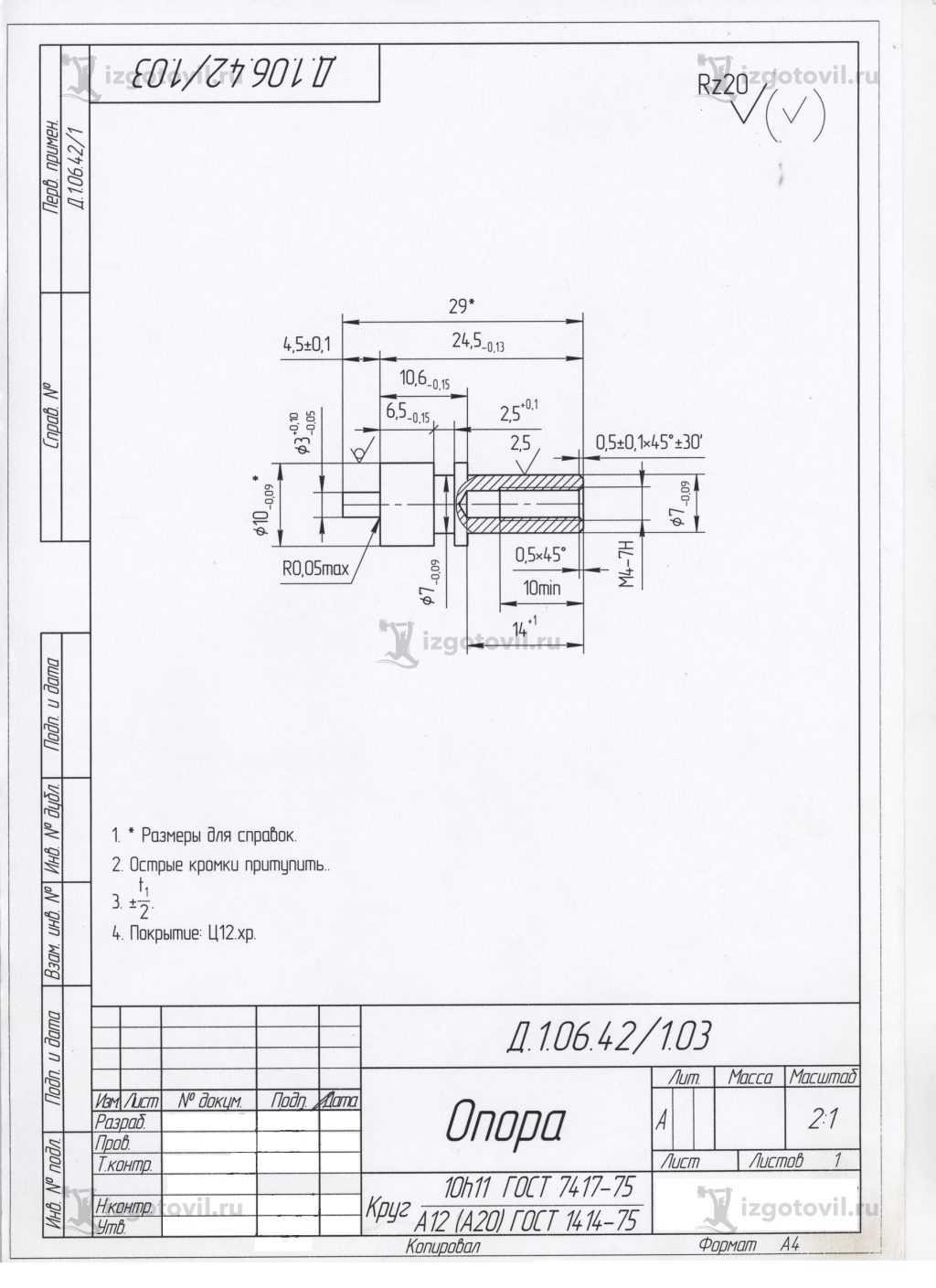 Токарная обработка ЧПУ: изготовление опор