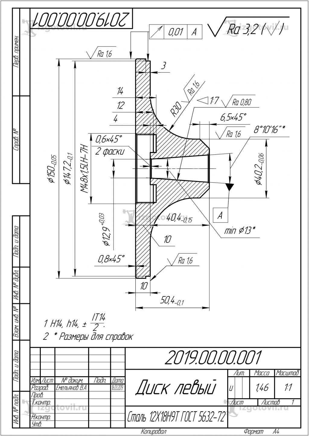 Изготовление цилиндрических деталей ( диск атомайзера)