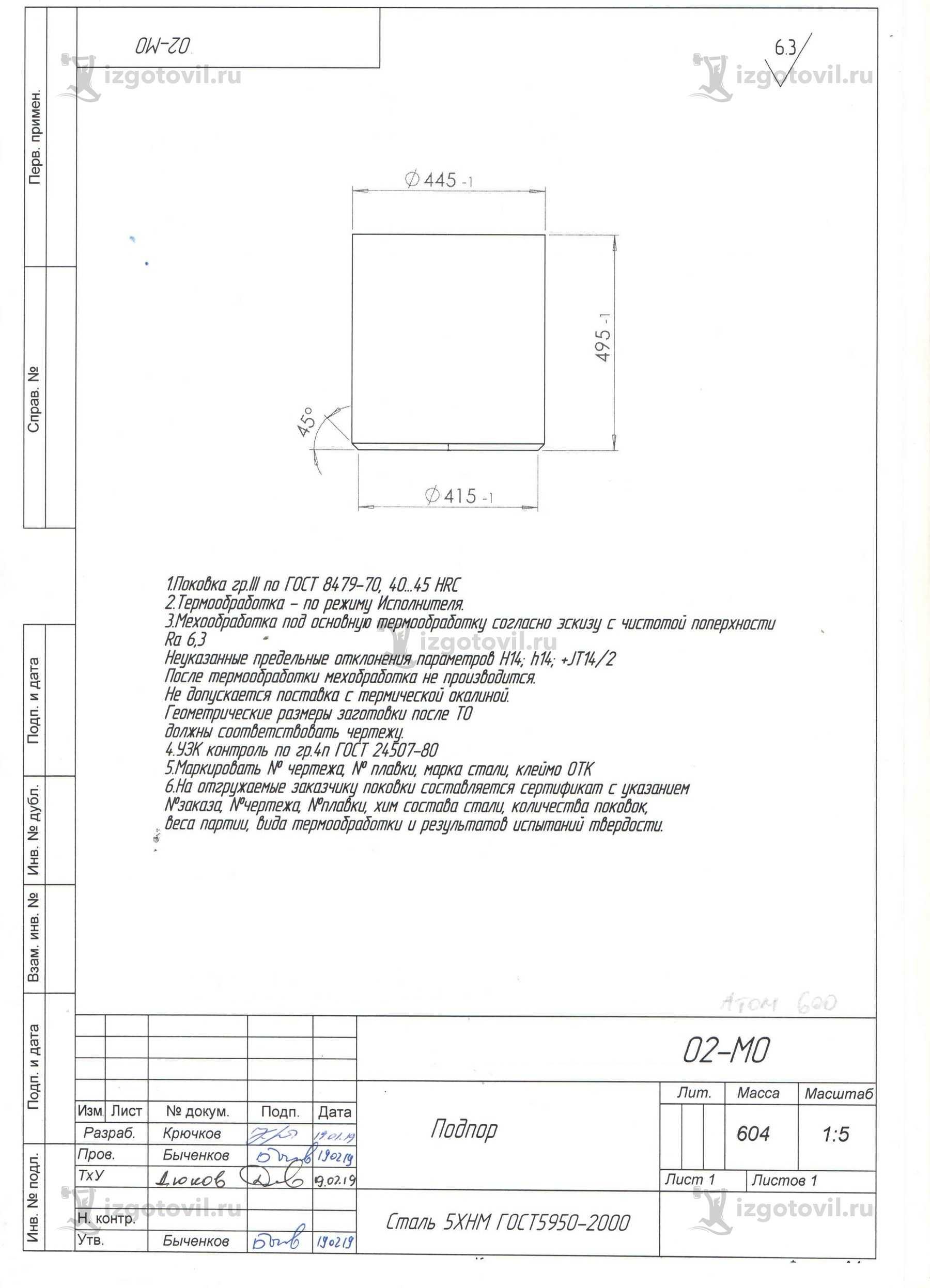 Изготовление цилиндрических деталей (подпор, пуансон)