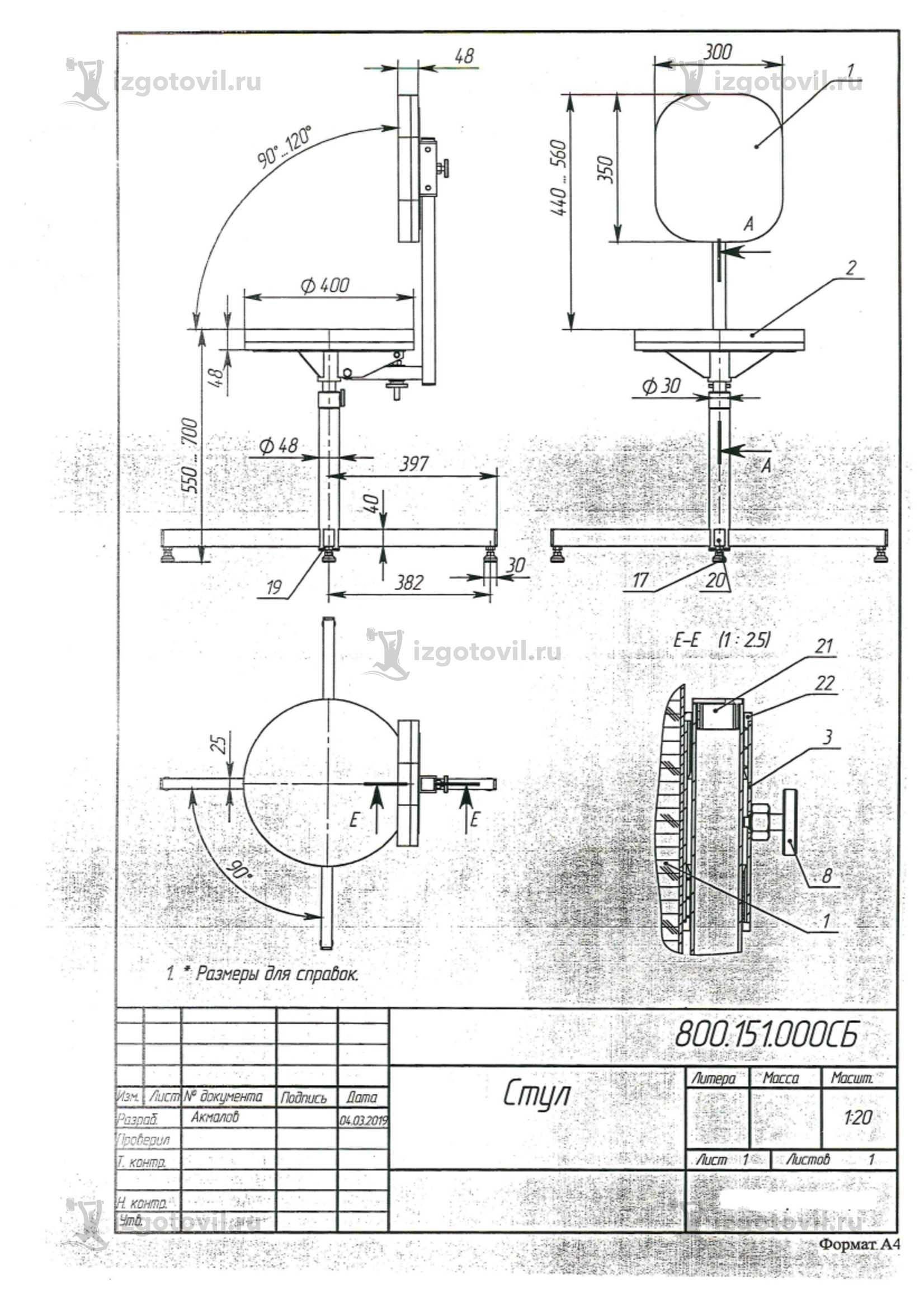 Изготовление деталей из металла ( винтовые металлические стулья)