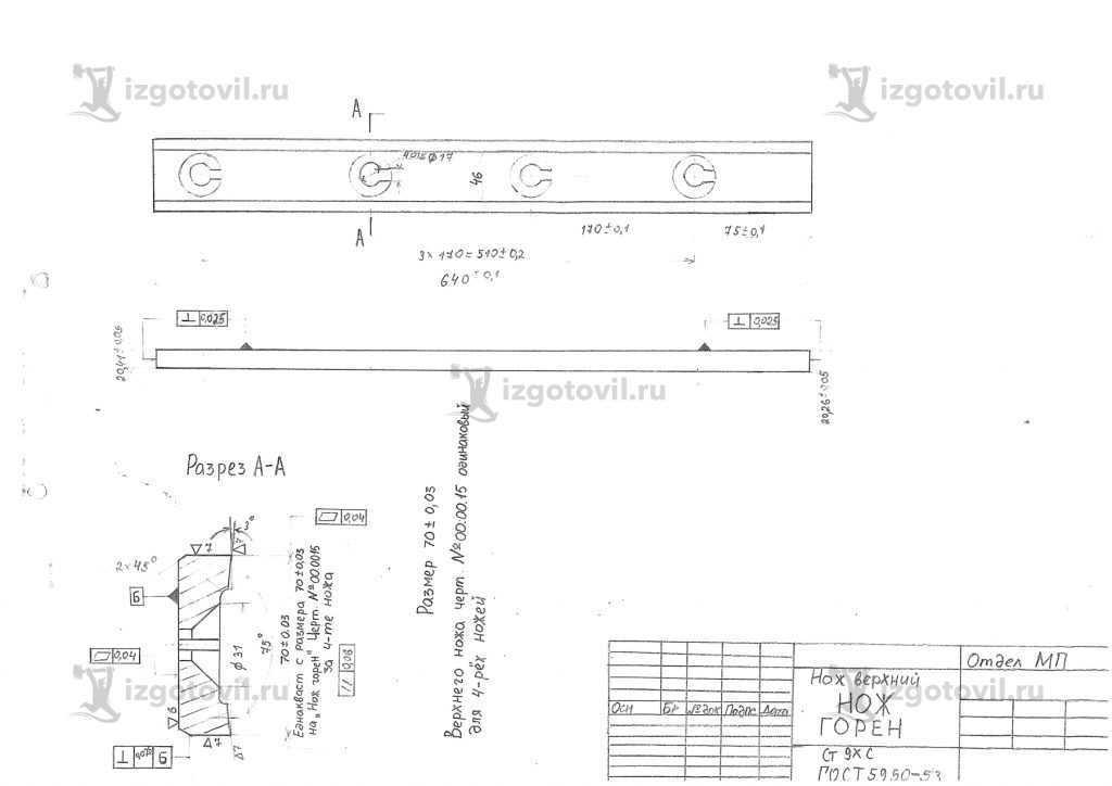 Изготовление деталей оборудования (ножи гильотинные)
