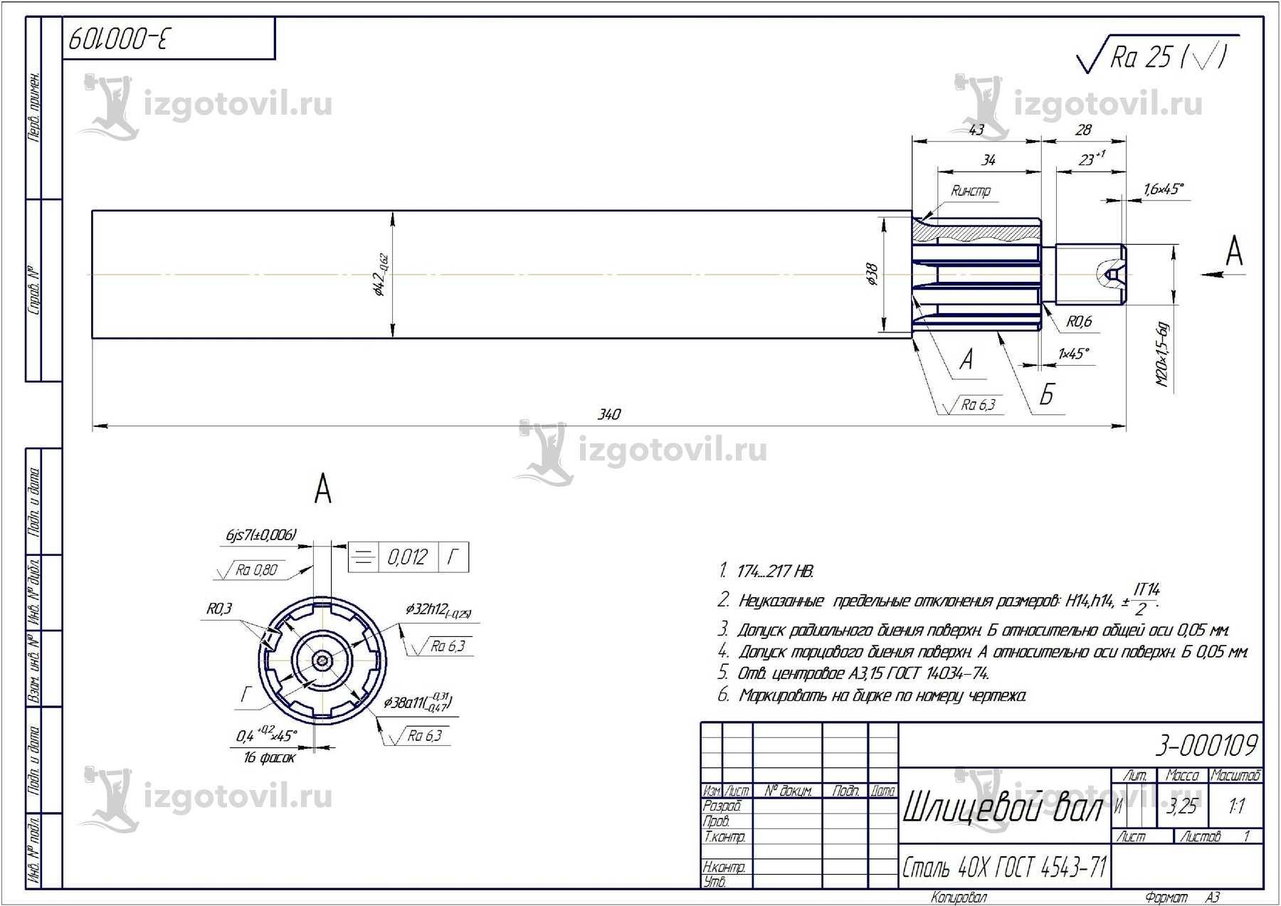 Металлообработка: изготовление шлицевого вала и втулки