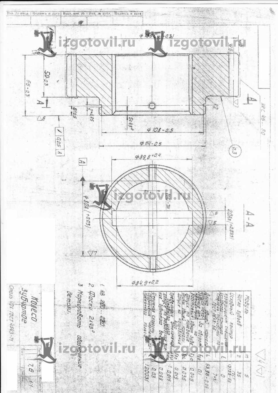 Изготовление зубчатых колес, вал-шестерня, шпиндель правый, по чертежам заказчика
