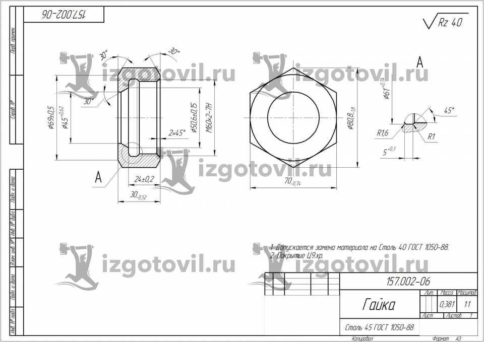 Токарная обработка ЧПУ - изготовление ниппеля