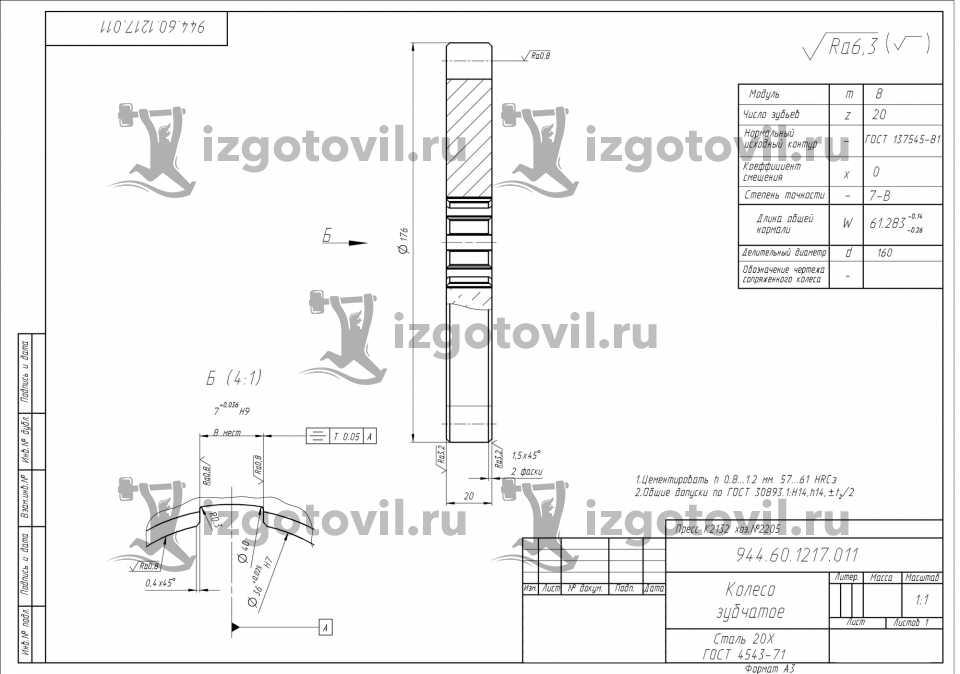Токарная обработка деталей - Червячное колесо