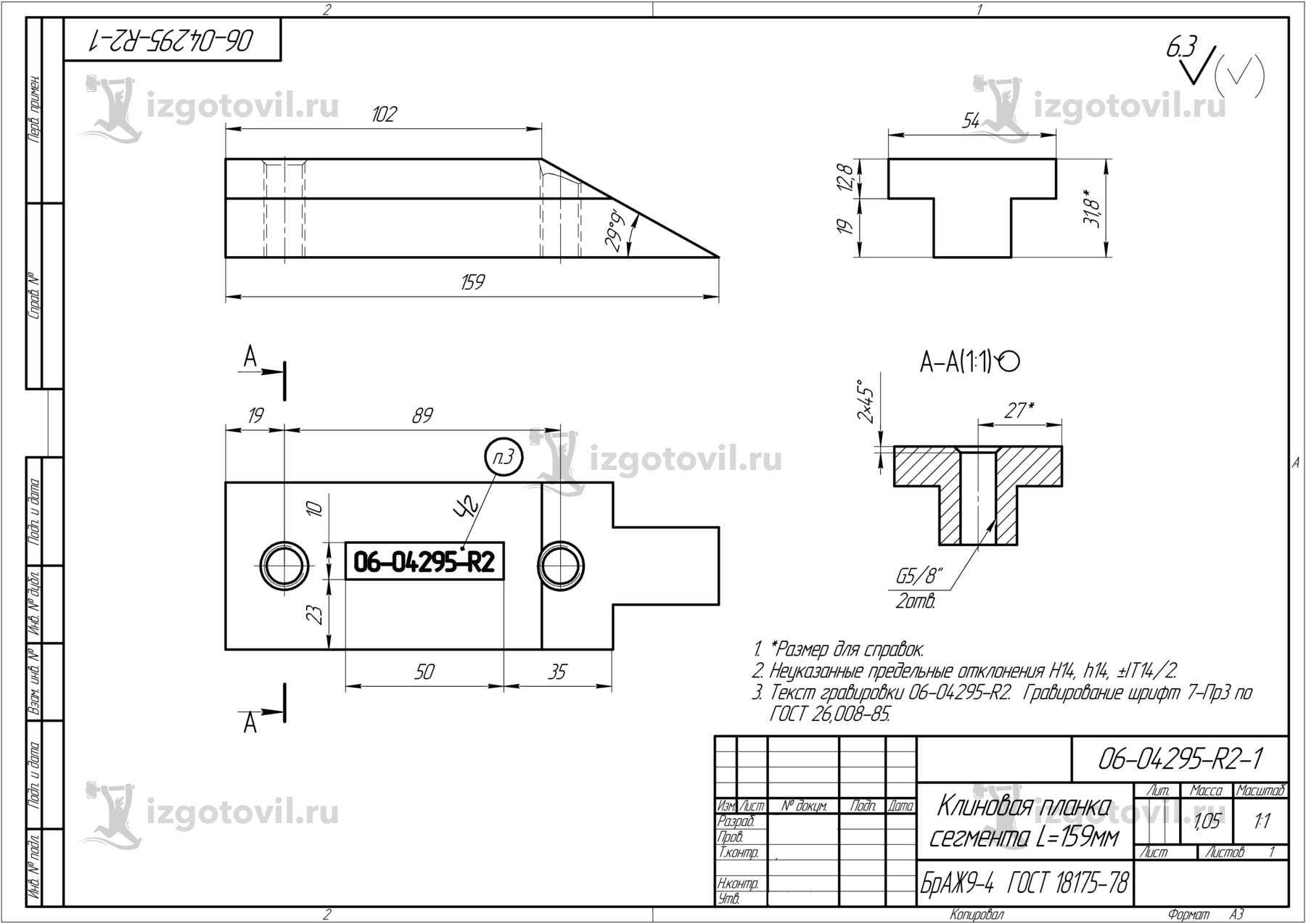 Изготовление деталей по чертежам:  корпусов, планок, рычагов