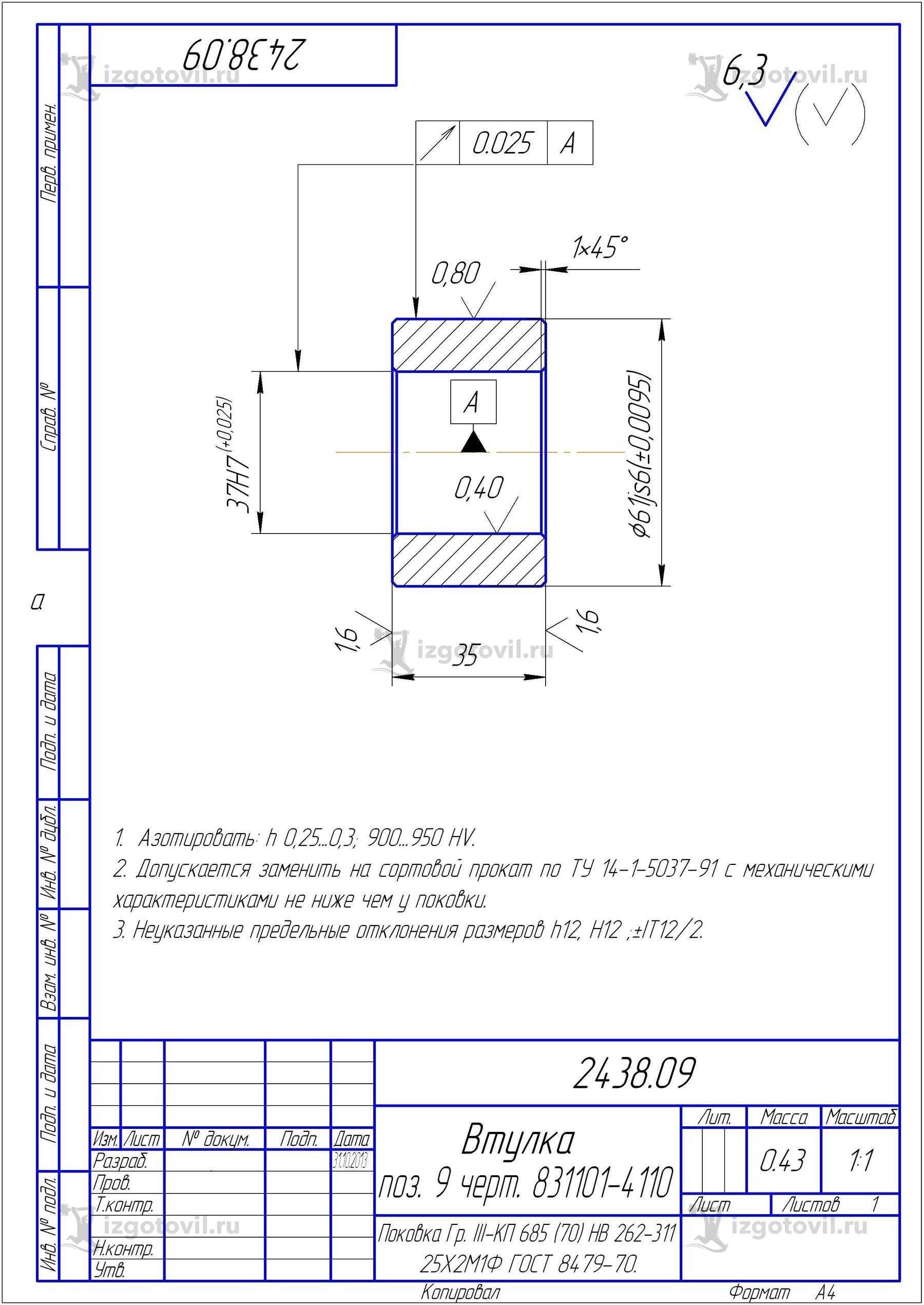 Изготовление деталей оборудования (детали клапана.)