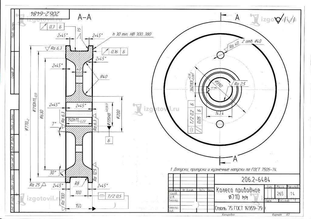 Изготовление деталей оборудования (Крановые колеса).