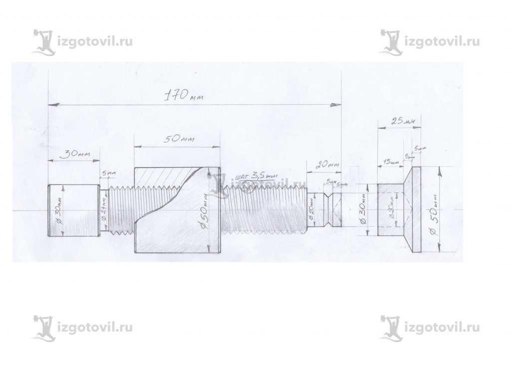 Токарная обработка деталей: изготовление винта для ваймы.