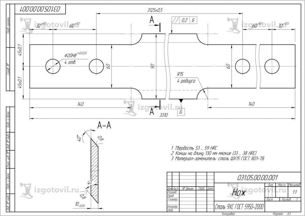 Изготовление деталей оборудования (нож на гильотину ROTEX )