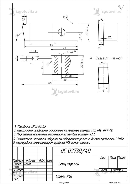 Изготовление металлических деталей (резцы)
