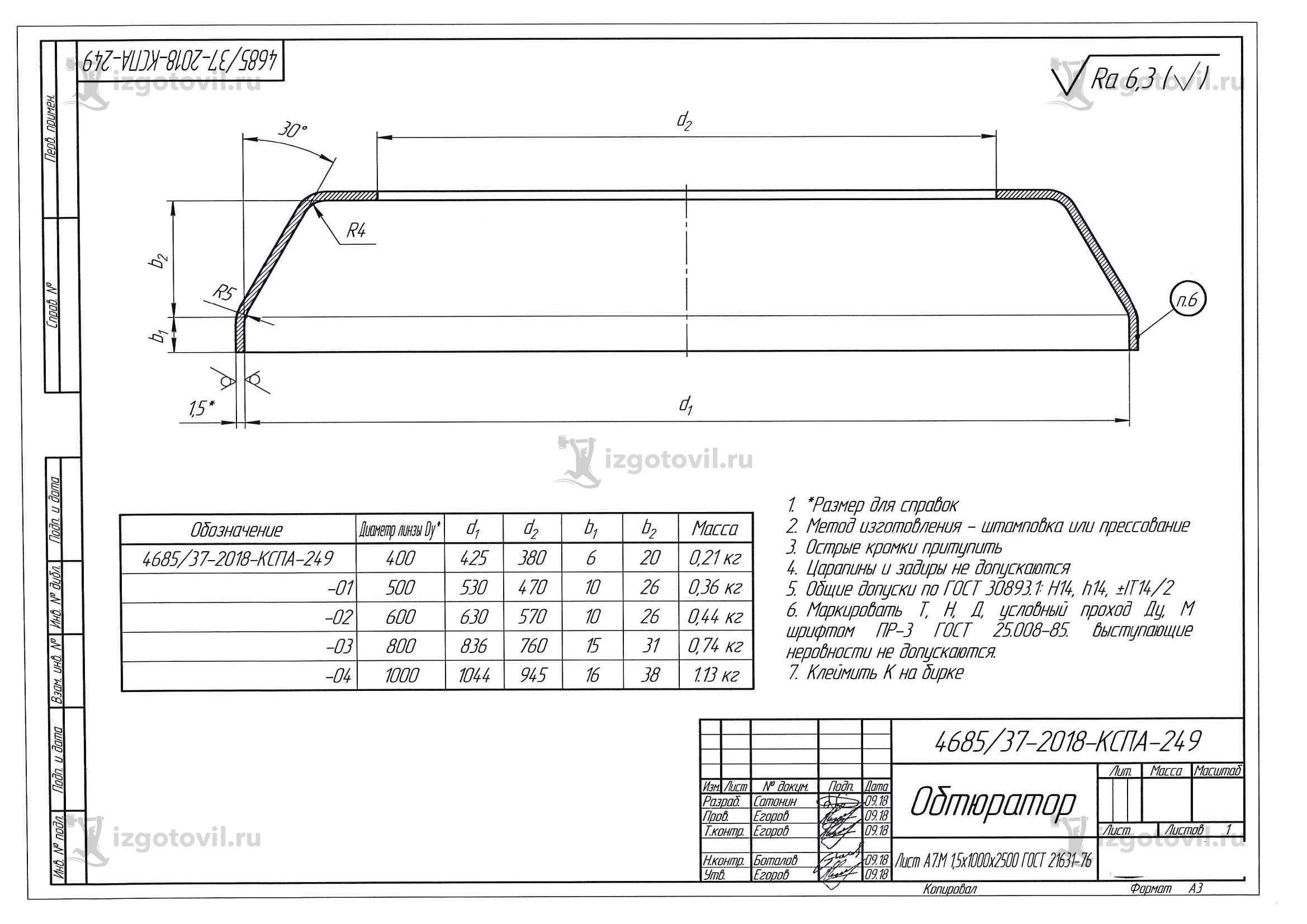 Штамповка металла (Обтюратор А7м)