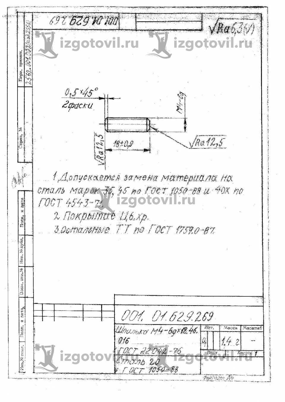 Токарная обработка деталей - шпильки