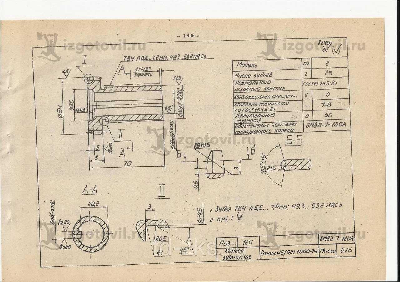 Изготовление деталей оборудования (Колесо зубчатое 6М82.7.180А (поз.№ 124) на фрезерный станок 6р12б)