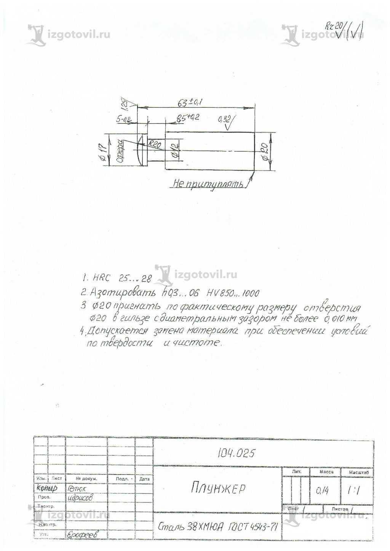 Изготовление технологических деталей (плунжерная пара)