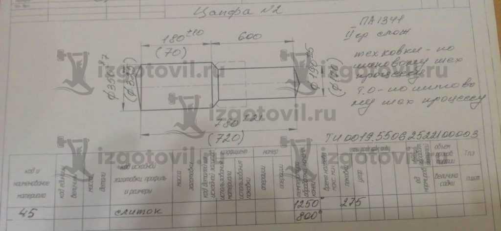 Изготовление деталей на заказ (цапфа)