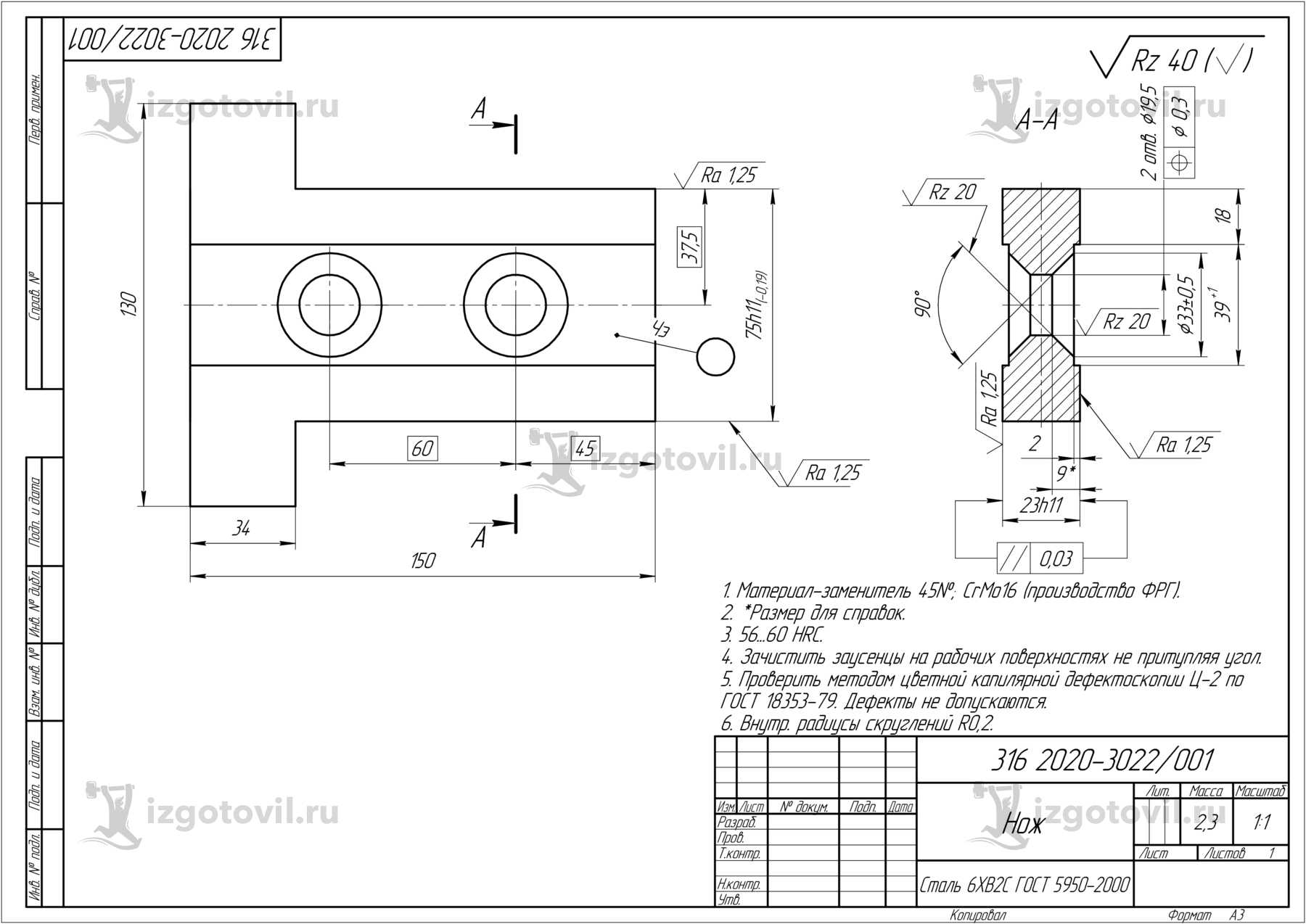 Изготовление деталей оборудования ( Ножи гильотинных ножниц RL-2500 )