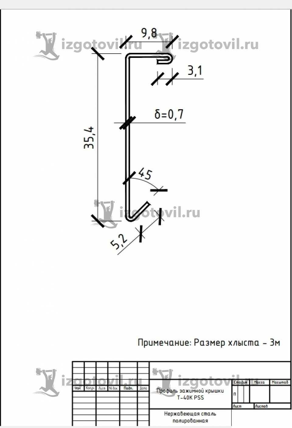 Изготовление металлоконструкций - изготовить профиль