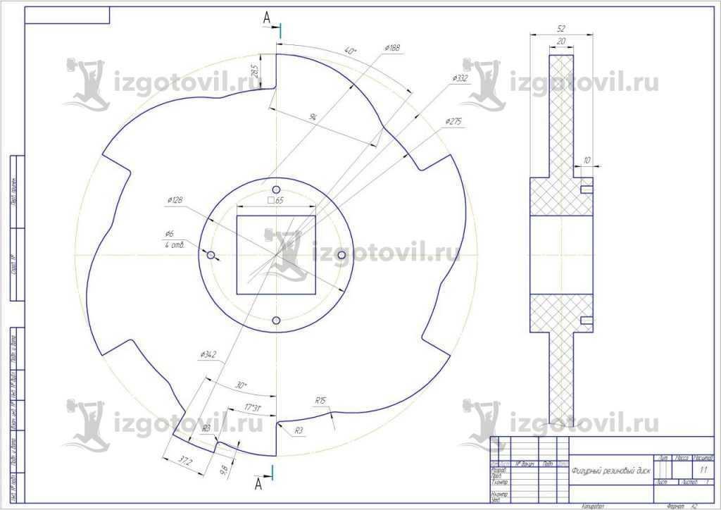 Изготовление деталей на заказ (диск из резины)