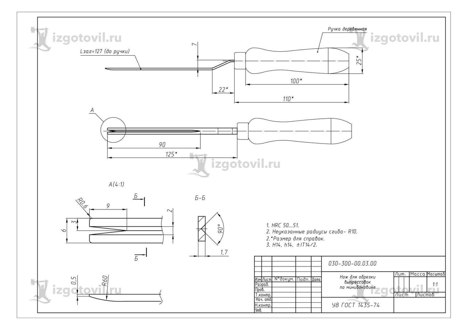 Изготовление деталей на заказ (нож)