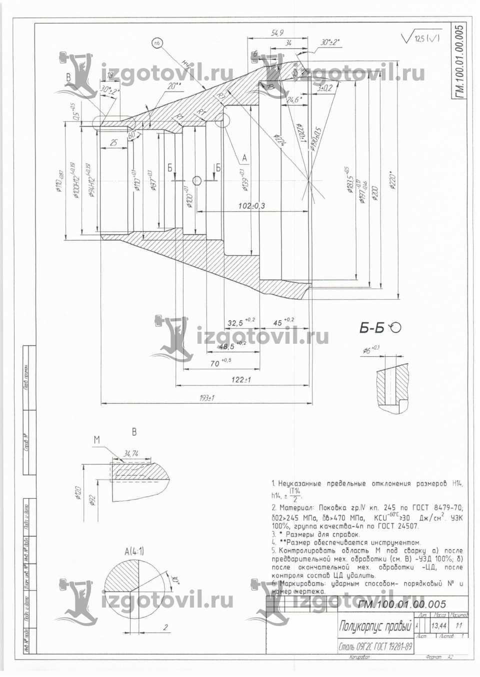 Токарная обработка ЧПУ - изготовление правого полукорпуса