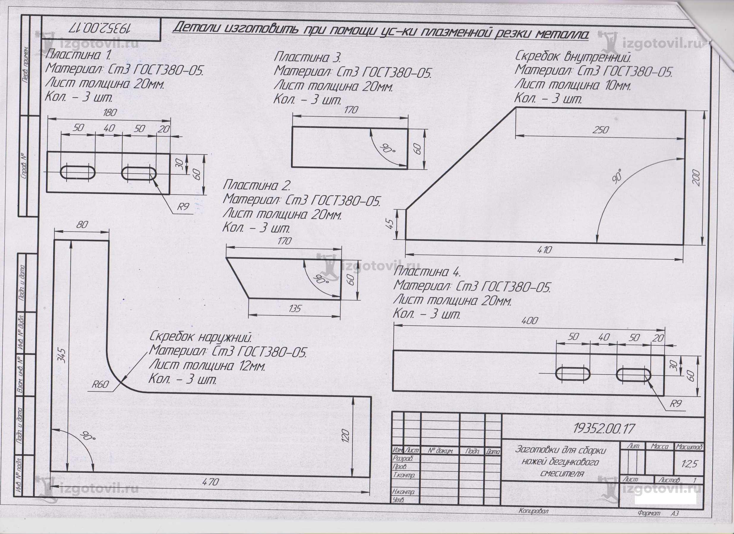 Изготовление технологических деталей (Ножи на бегунковые сместители ).