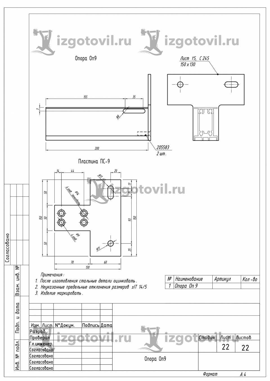 Изготовление деталей на заказ - кронштейн