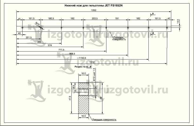 Изготовление деталей оборудования (ножи для гильотины JET FS1652N)