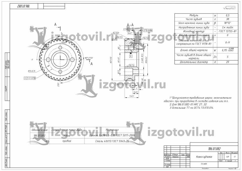 Изготовление шестерен - зубчатых колес из бронцы и стали