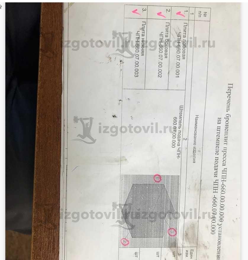 Изготовление деталей оборудования  (броня для пресса)
