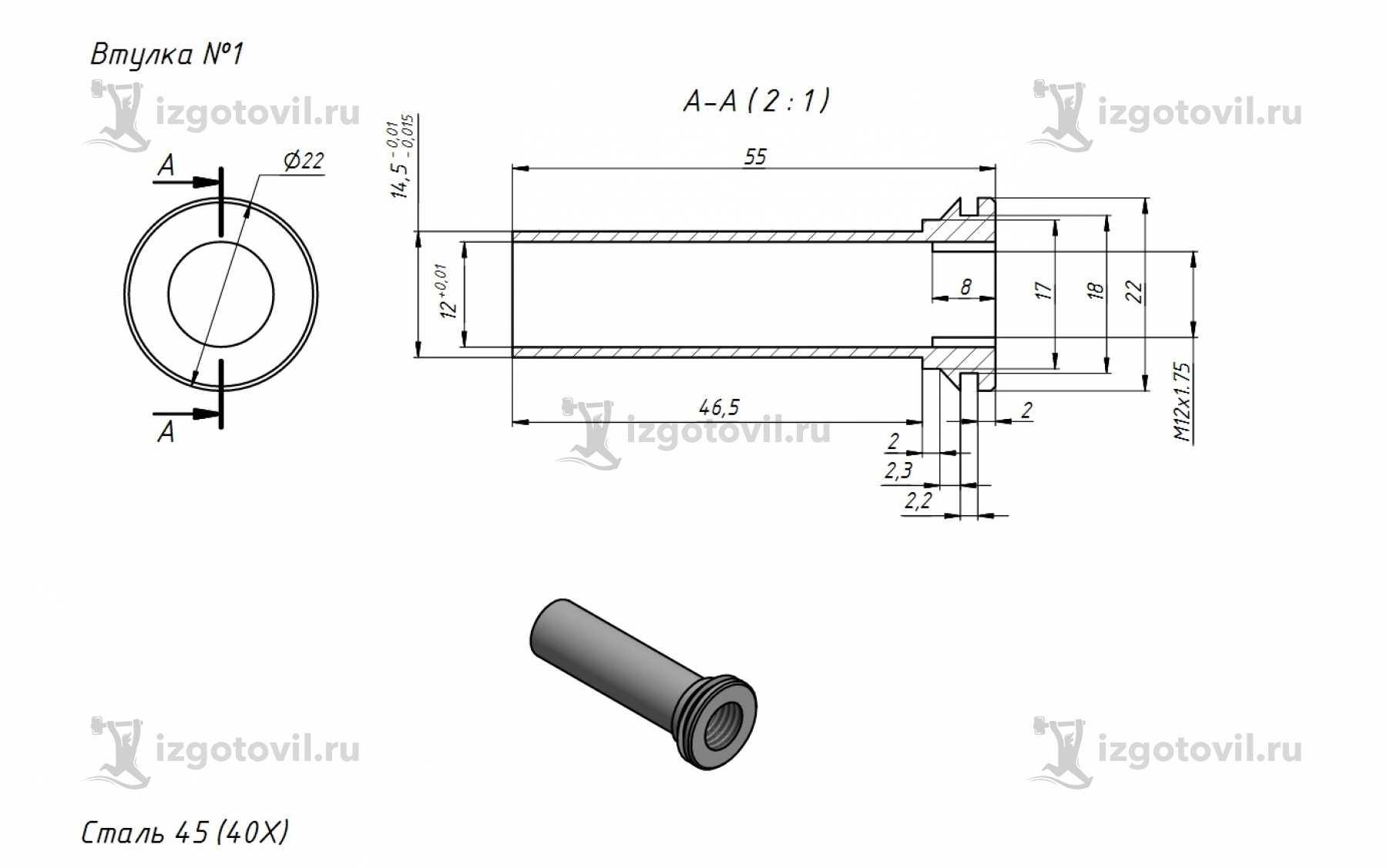 Изготовление деталей по чертежам - изготовление вала, гайки, втулки, корпус