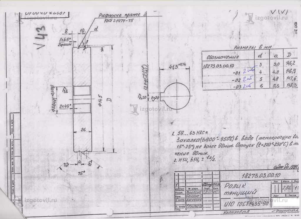 Изготовление деталей оборудования ( ролик тянущий на рубочный станок для рубки проволоки).