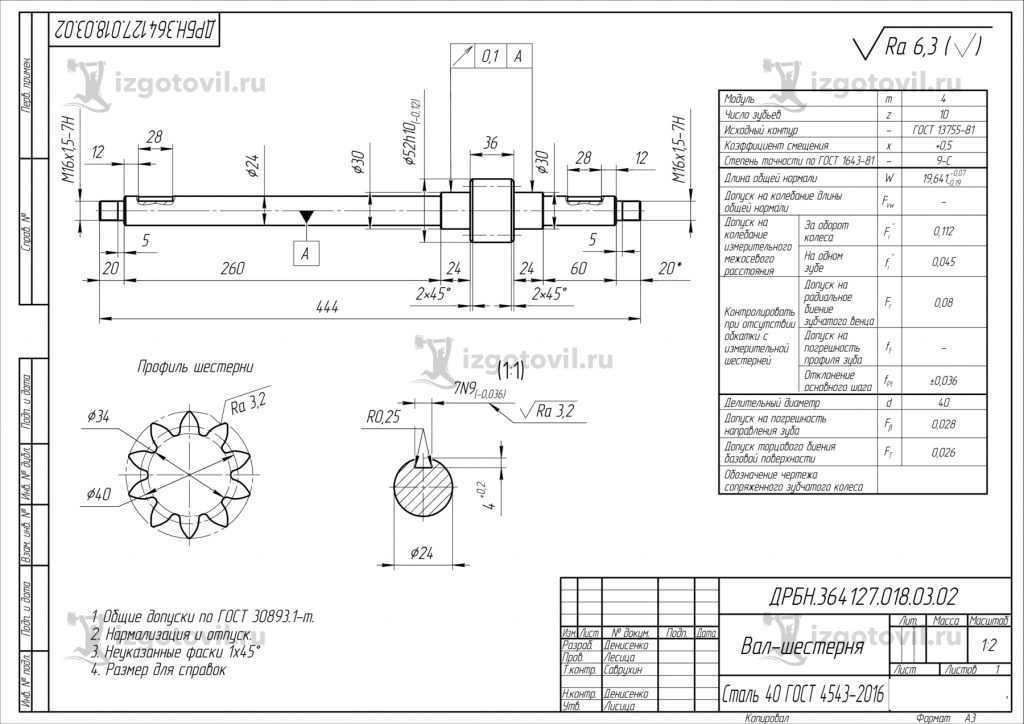 Токарная обработка деталей (вал-шестерня, колесо)