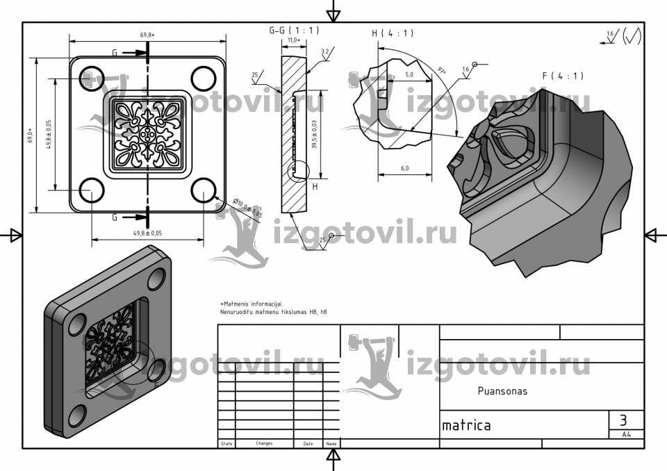 Фрезеровка - изготовить матрицу