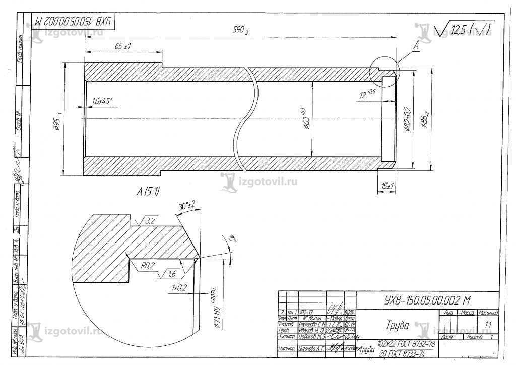 Изготовление деталей узлов ( Комплект деталей для устройства для холодной врезки Ду 100/150 УХВ-150).