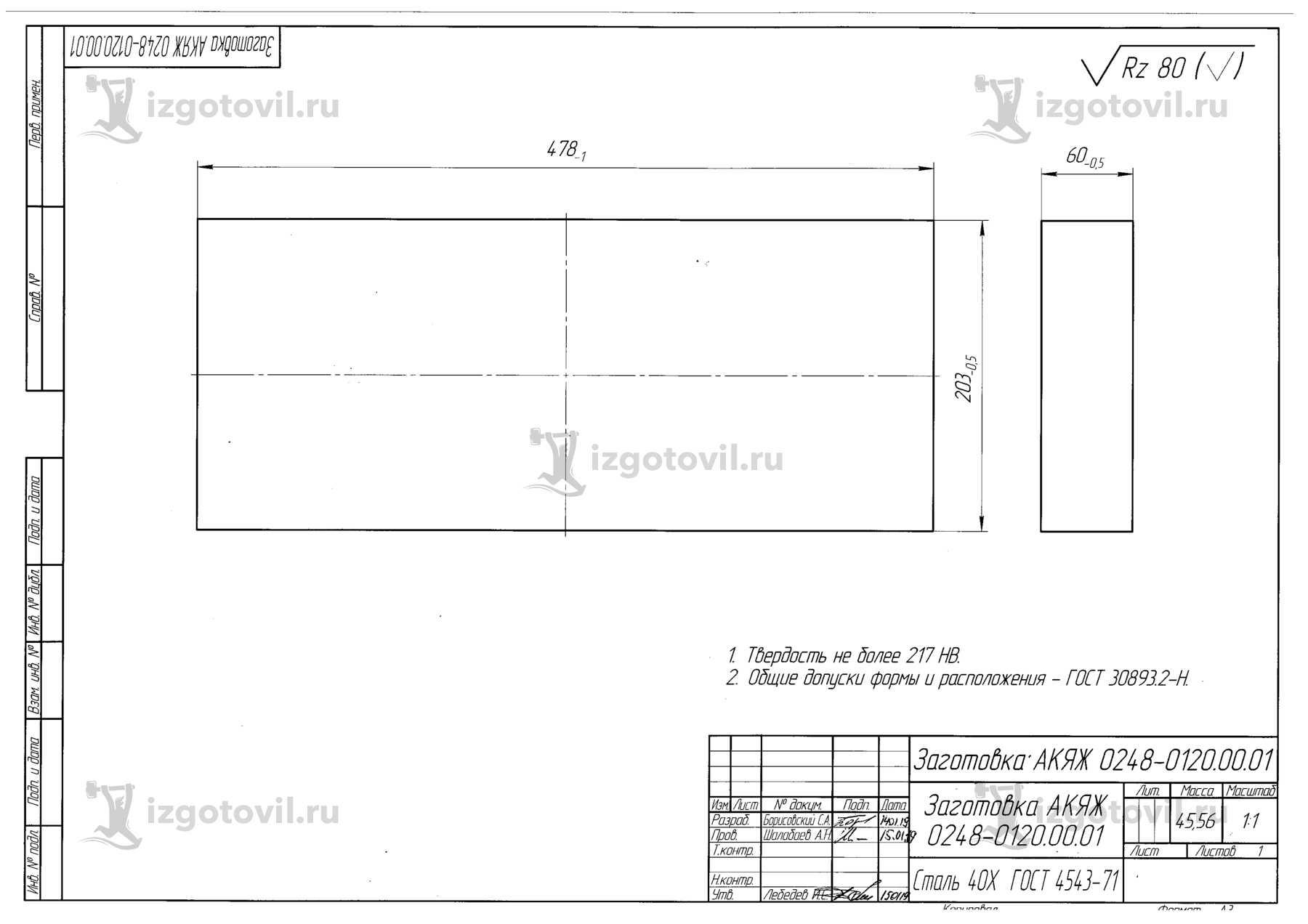 Изготовление деталей по чертежам (заготовки, шпильки).