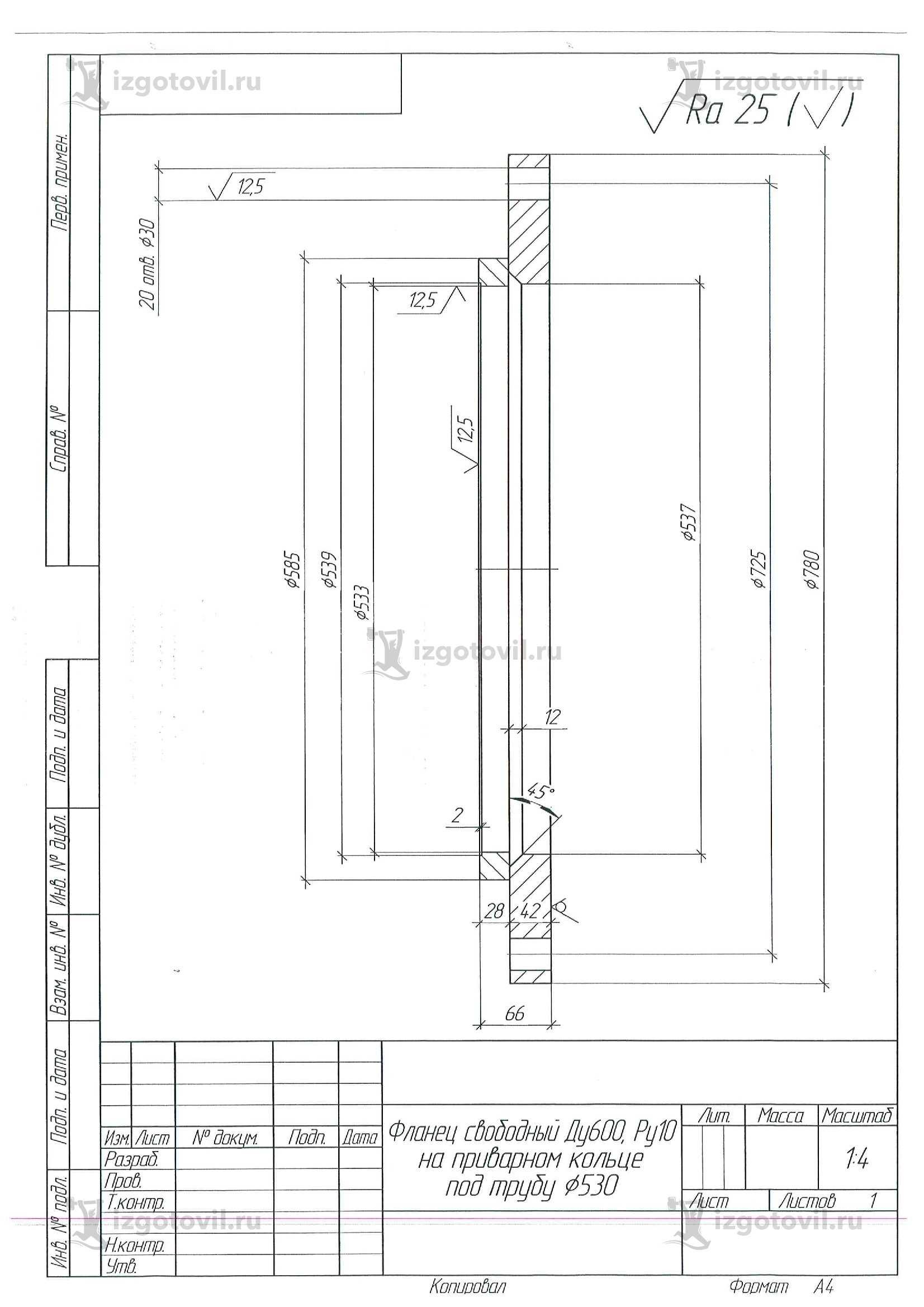 Изготовление деталей по чертежам (фланцы).