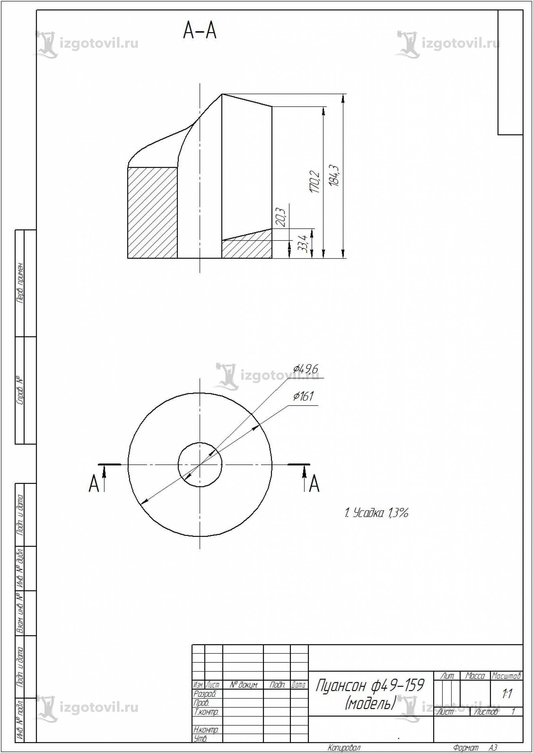 Фрезеровка ЧПУ- изготовление пуансона
