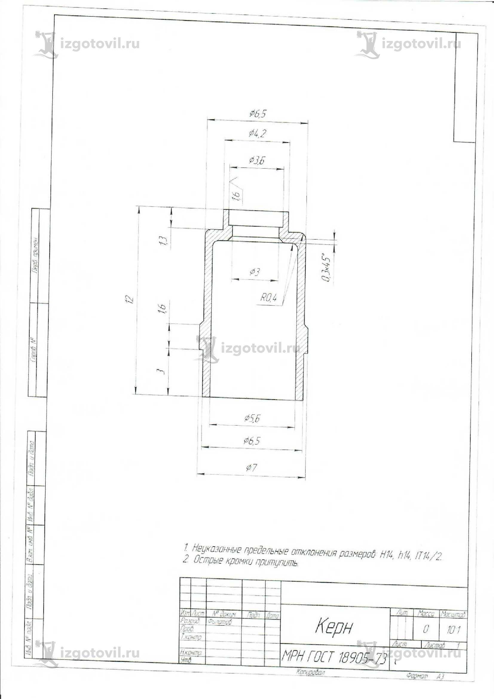 Изготовление деталей на заказ (детали из тантала ТВЧ1)