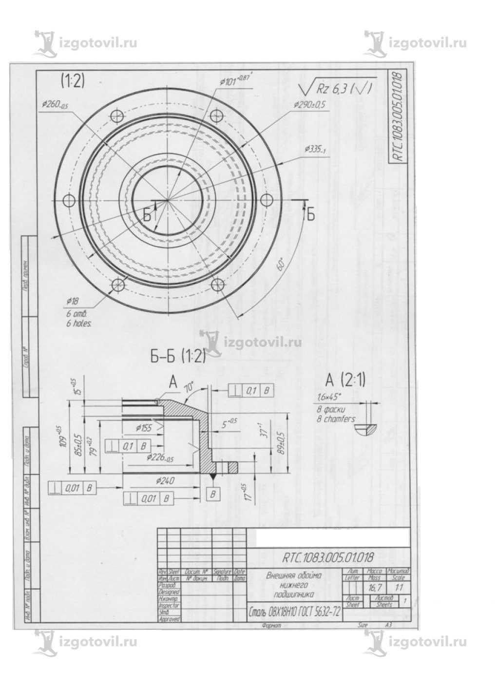 Изготовление деталей по чертежам: крышки, обоймы, фланцы, втулки и шайба