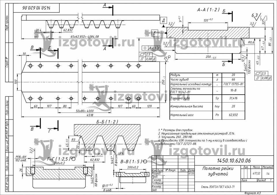 Фрезеровка ЧПУ - изготовление зубчатой рейки