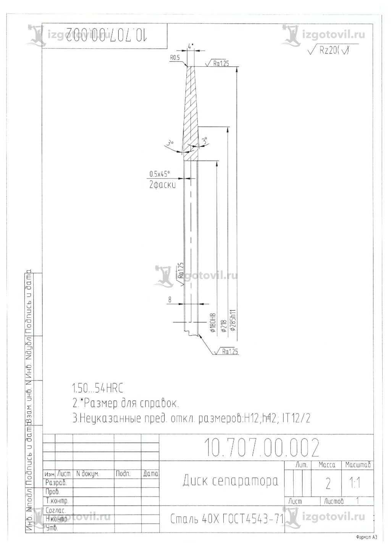 Изготовление деталей по чертежам: конус и диск