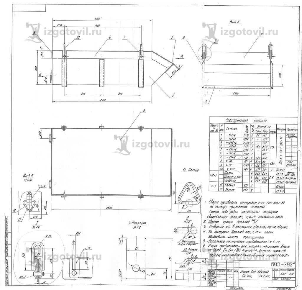 Изготовление металлоконструкций: ящик для мусора, совки, урна для шлака и клин
